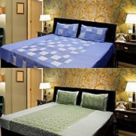 Akash Ganga Combo of 2 Cotton Double bedsheet with 4 Pillow Cover (KK COMBO 9)