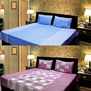 Akash Ganga Combo of 2 Cotton Double bedsheet with 4 Pillow Cover (KK COMBO 10)