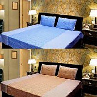 Akash Ganga Combo of 2 Cotton Double bedsheet with 4 Pillow Cover (KK COMBO 13)