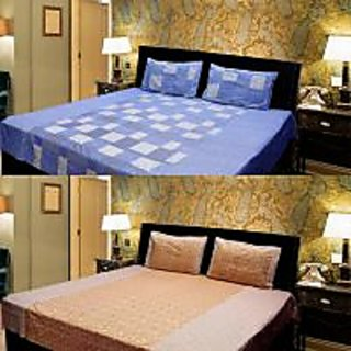Akash Ganga Combo of 2 Cotton Double bedsheet with 4 Pillow Cover (KK COMBO 12)