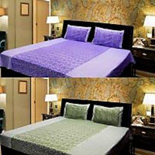 Akash Ganga Combo of 2 Cotton Double bedsheet with 4 Pillow Cover (KK COMBO 15)