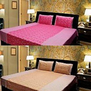 Akash Ganga Combo of 2 Cotton Double bedsheet with 4 Pillow Cover (KK COMBO 16)