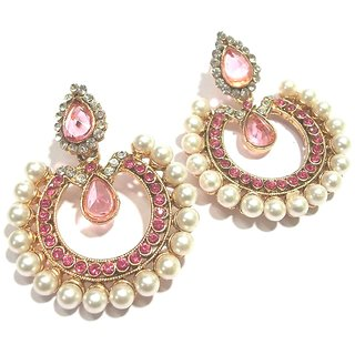 Pink Tilak Polki Earrings