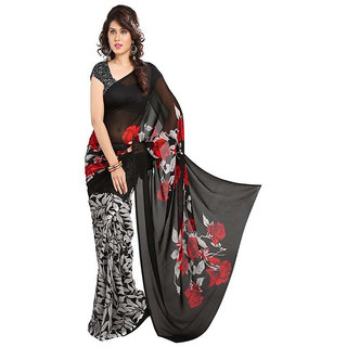 Indian Beauty Black Art Silk Printed Saree With Blouse