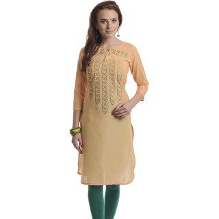 Orange Cotton A-Line Kurti For Women