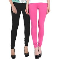 Stylobby Black And Baby Pink Kids Legging Pack Of 2