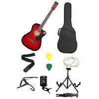 JIXING RED ACOUSTIC GUITAR WITH (Foldable Guitar Stand,