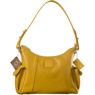 eZeeBags YA850v1 womens leather handbag. Large size, full width front, rear  2 side pocket with adjustable shoulder strap.