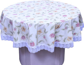 E-Retailers Elegant  Yellow Colour Flowers Printed  With White Lace 60 Inch Round Table Cover for 4 Seater