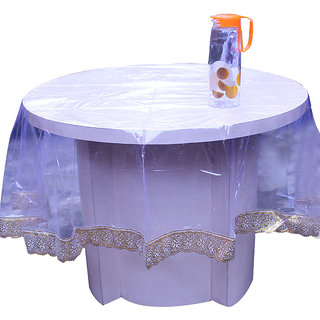 E-Retailers Elegant Transparent With Golden Lace 72 Inch Round Table Cover for 6 Seater