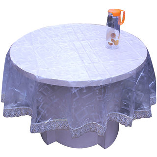 E-Retailers Elegant Transparent On Square design Printed With Golden Lace 60 Inch Round Table Cover for 4 Seater
