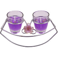 E-Retailer Fancy Purple Glass Design Gel Candle Set