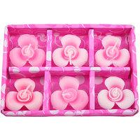 E-Retailer Fancy Pink Flower Design Candle (Set Of 6 Pc