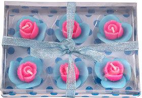 E-Retailer Fancy Pink  Blue  Flower Design Candle  (Set