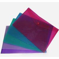 SGDTransparent Plastic File Folder With Button (Set of 12 Pcs)