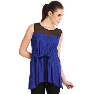 Soie Women Navy Blue Solid Sleeveless Tunic