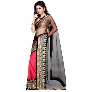 Ambaji Black Colored chiffon+net Embroidered Saree