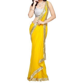 Ambaji Yellow Colored Georgette Plain Saree