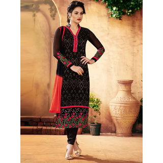 Sareemall Black Self Designer Semi Stitched Salwar Suit With Dupatta 2BLS12104