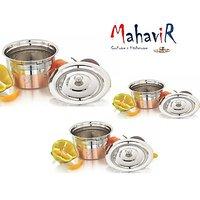 Mahavir Stainless Steel Baby Design Copper Cook & Serve Set (3 Pcs)