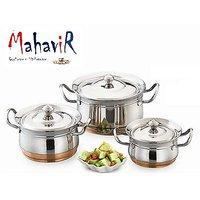 Mahavir Stainless Steel Cook & Serve Set Copper Bottom (3 Pcs)