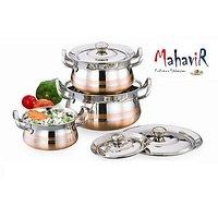 Mahavir Stainless Steel Cook & Serve Set Cross Copper Model (3 Pcs)
