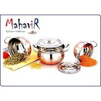 Mahavir Stainless Steel Solo Cook & Serve Set Cross Copper Model (3 Pcs)