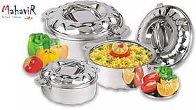 Mahavir Silver Casserole 1000,1500,2500 ml ( Pack Of 3 )