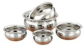 Mahavir Stainless Steel Cook  Serve Set Copper Bottom (Set Of 5)