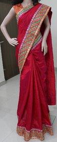 Bhama Creations Orange Raw Silk Self Design Saree With Blouse