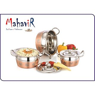 Mahavir Butterfly Design Copper Cook & Serve Cookware Set (3 Pcs)