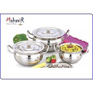 Mahavir Stainless Steel Special Effect Cook & Serve Cookware Set (3 Pcs)