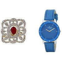 Evelyn Combo Of Blue Leather Analog Watch And Ring - RG