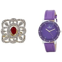 Evelyn Combo Of Purple Leather Analog Watch And Ring -