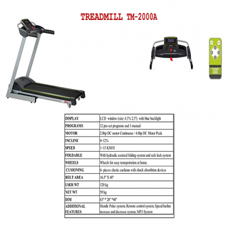 LIFEPRO MOTORISED TREADMILL TM-2000A WITH 1 YEAR WARRANTY