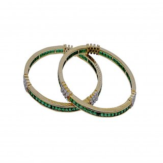 Golden Cubic Zirconia With Emerald Bangle