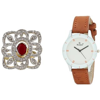 Evelyn Combo Of Brown Leather Analog Watch And Ring - RGBR-272