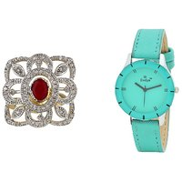 Evelyn Combo Of Green Leather Analog Watch And Ring - R