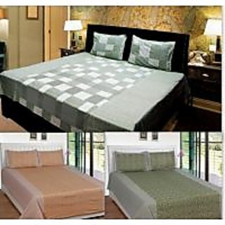 Akash Ganga Combo of 3 Cotton Double bedsheets with 6 Pillow Cover (KK COMBO 19)