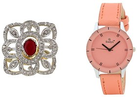 Evelyn Combo Of Orange Leather Analog Watch And Ring -