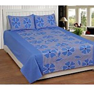 Akash Ganga Blue Cotton Double Bedsheet with 2 Pillow Cover (KK21) FRESH ARRIVAL