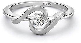 Platinum ring with Single Diamond by Suranas Jewelove SJ PTO 201