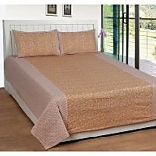 Akash Ganga Brown Cotton Double Bedsheet with 2 Pillow Covers (KK27)