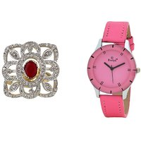 Evelyn Combo Of Pink Leather Analog Watch And Ring - RG