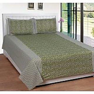 Akash Ganga Green Cotton Double Bedsheet with 2 Pillow Covers (KK28)