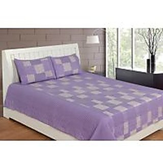 Akash Ganga Purple Cotton Double Bedsheet with 2 Pillow Covers (KK31)