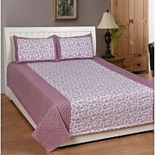 Akash Ganga (Onion Colour) Cotton Double Bedsheet with 2 Pillow Covers (KK35)
