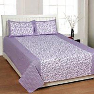 Akash Ganga Purple Cotton Double Bedsheet with 2 Pillow Covers (KK36)