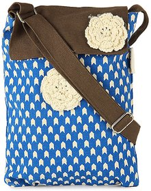 Pick Pocket Sling With Blue Prints And A Brown Flap Bag
