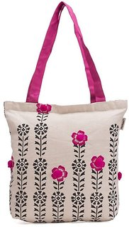 Pick Pocket Accrue Tote With Black Prints And Pompom Balls Bag